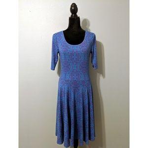 LuLaRoe Blue, Purple and Pink Print Nicole Dress